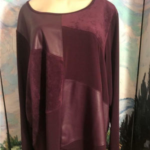 Calvin Klein Purple Faux Suede/Leather Tunic Top